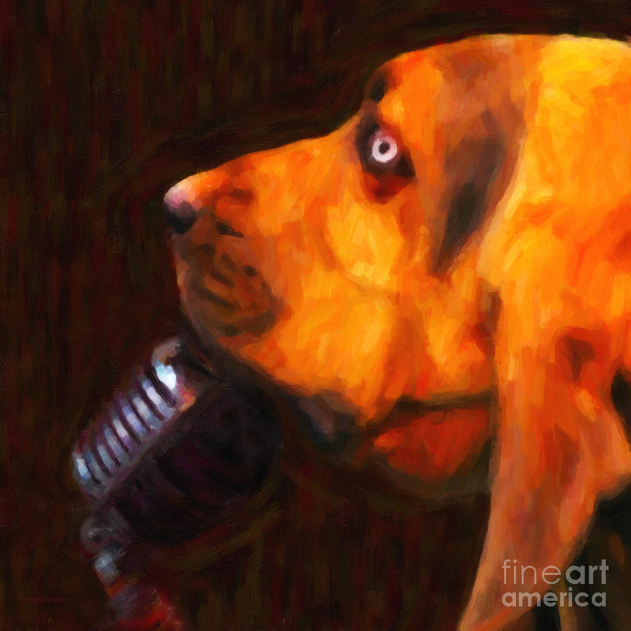 Animal Photograph - You Aint Nothing But A Hound Dog - Dark - Painterly by Wingsdomain Art and Photography