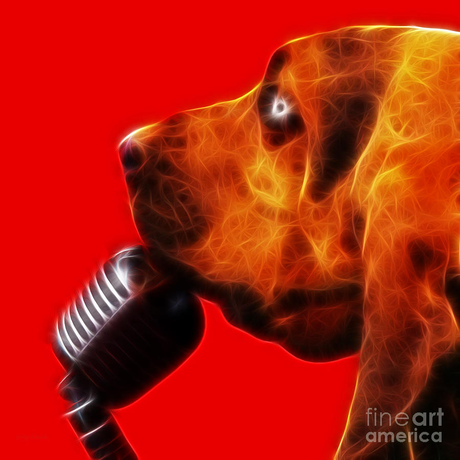 Animal Photograph - You Aint Nothing But A Hound Dog - Red - Electric by Wingsdomain Art and Photography