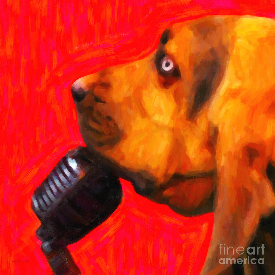 Animal Photograph - You Aint Nothing But A Hound Dog - Red - Painterly by Wingsdomain Art and Photography