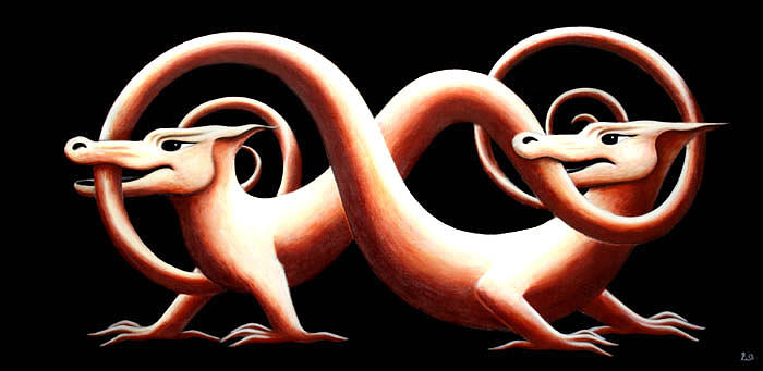 Dragon Painting - You And Me by Erla Alberts