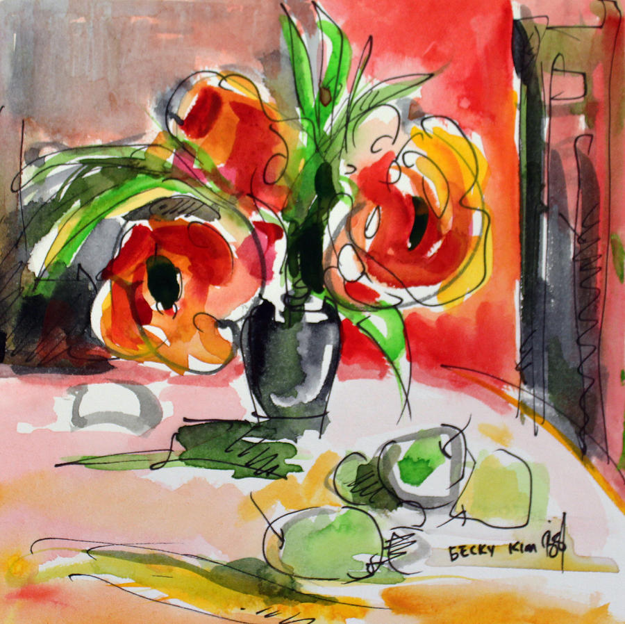 Floral Painting - You Are Beautiful by Becky Kim