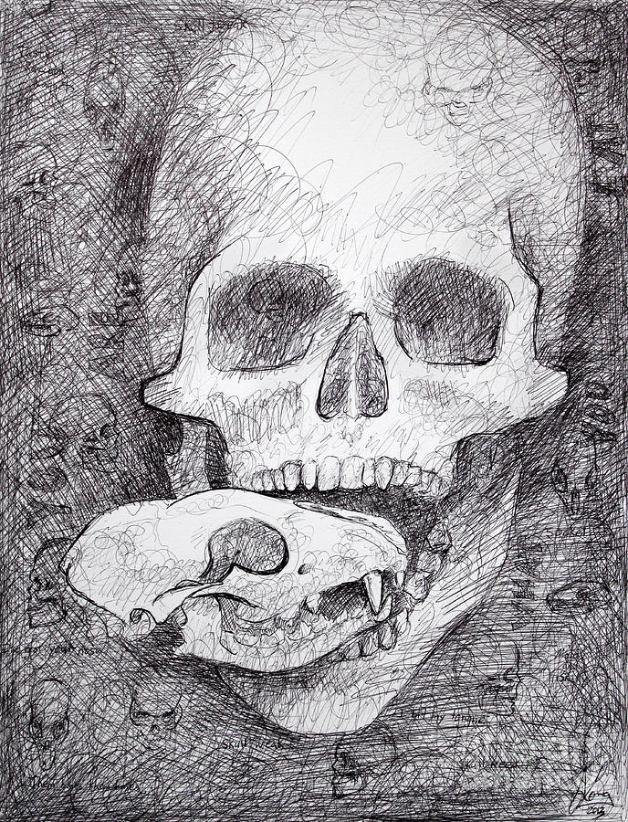 Skull Drawing - You Are What You Eat Skull Drawing by Adam Long
