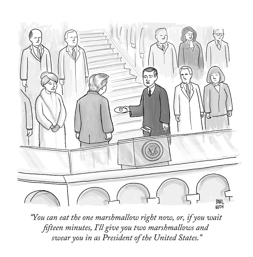 Inauguration Drawing - You Can Eat The One Marshmallow Right Now by Paul Noth