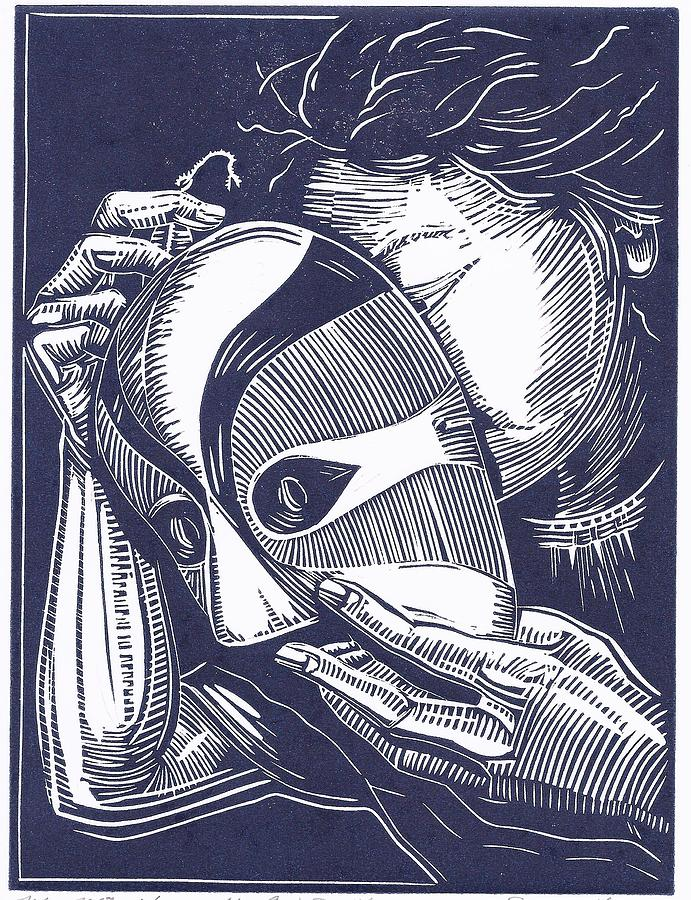 Linoleum Print Drawing - You Cant See Me by Jennifer Harper