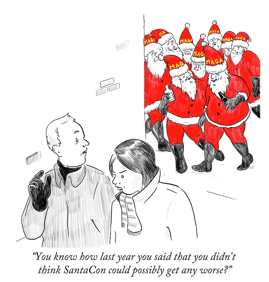 Cartoon Drawing - You Didnt Think Santacon Could Possibly Get Any by Emily Flake