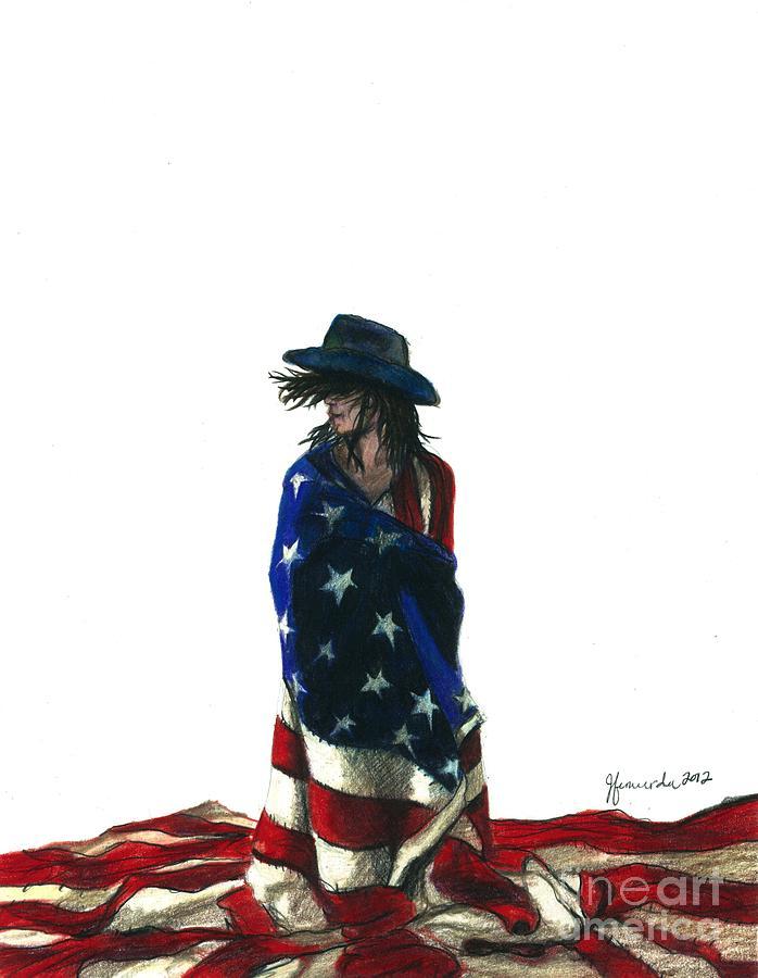 Patriotic Drawing - You Find Freedom Inside by J Ferwerda