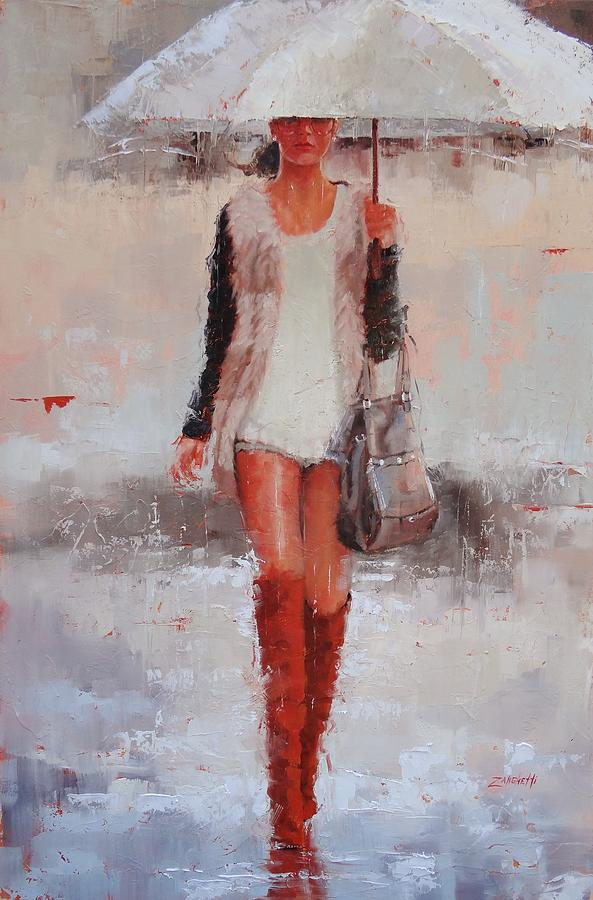 Red Suede Boots Painting - Theyre Waterproof  by Laura Lee Zanghetti
