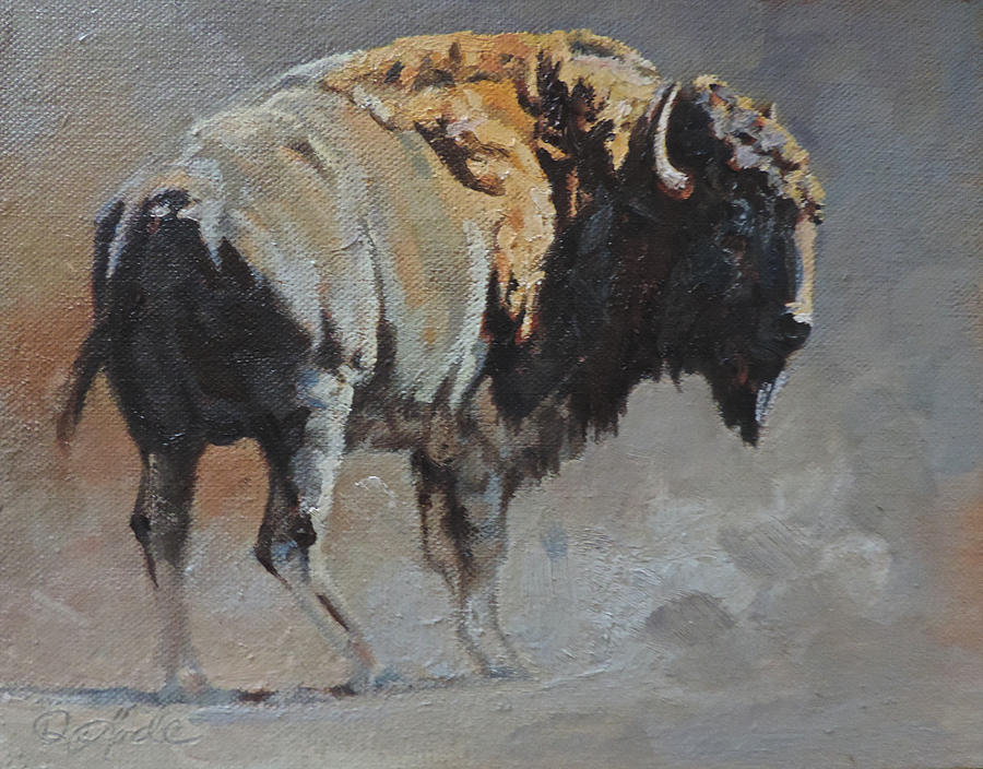 Bison Painting - You Lookin At Me by Mia DeLode