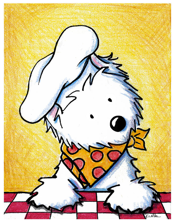 Westie Painting - You Wanna Pizza Me by Kim Niles