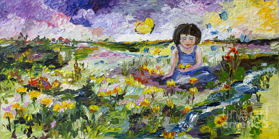Impressionistic Painting - You Will Find Me By The Brook Where The Butterflies Live by Ginette Callaway
