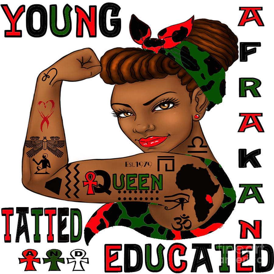 Young Digital Art - Young Afrakan Tatted And Educated by Respect the Queen