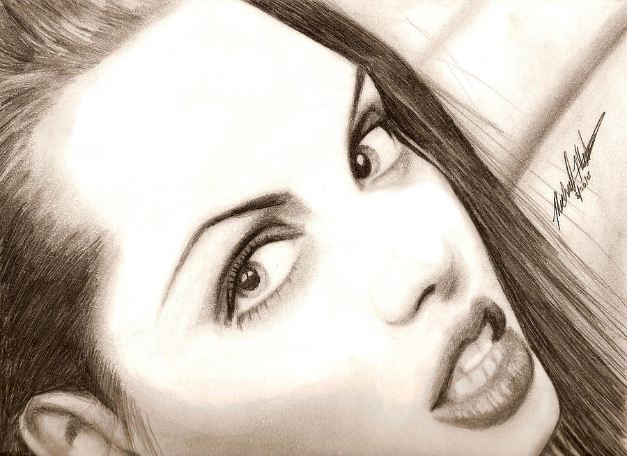 Angelina Jolie Drawing - Young Angelina Jolie by Michael Mestas
