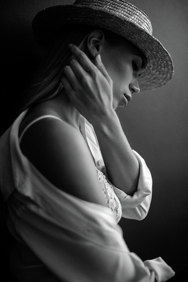 Young Beautiful Woman Wearing Black Hat Photograph by Coffeeandmilk