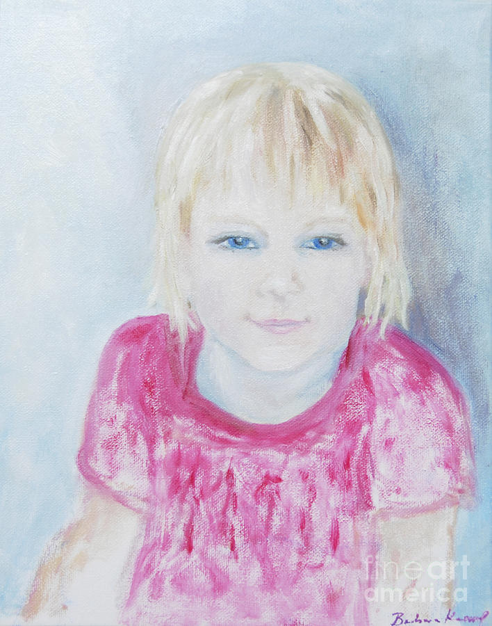 Young Girl In Red Dress Painting - Young Blue-eyed Girl  by Barbara Anna Knauf