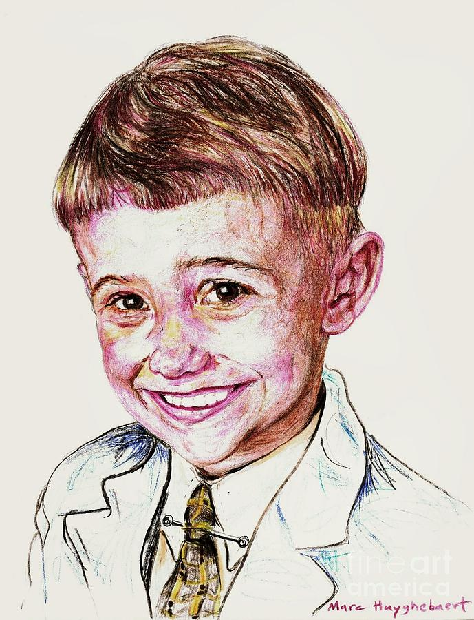 Young Boy Drawing by PainterArtist FIN