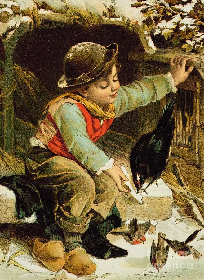 Bird Painting - Young Boy With Birds In The Snow by English School