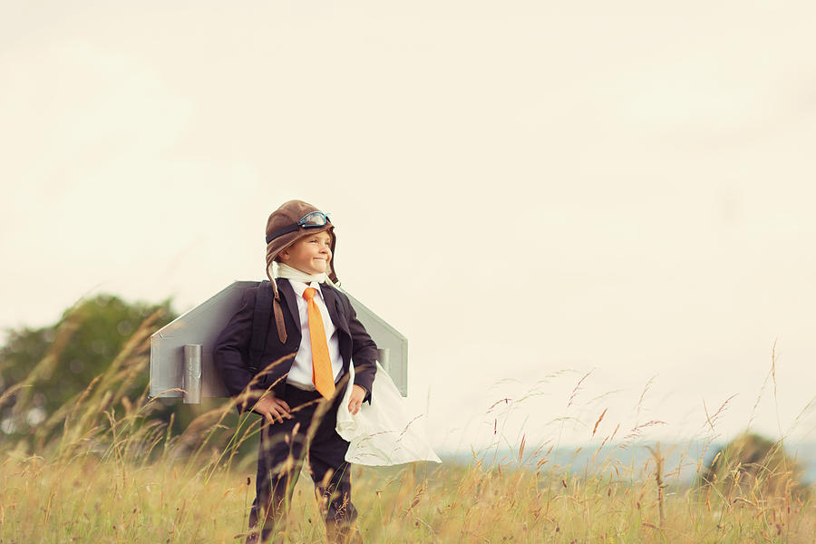 Young British Business Boy wearing Jet Pack Photograph by RichVintage