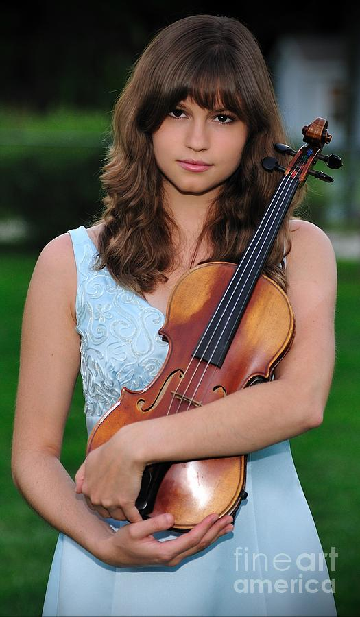 Young Girl Cradles Beloved Violin by Wayne Nielsen