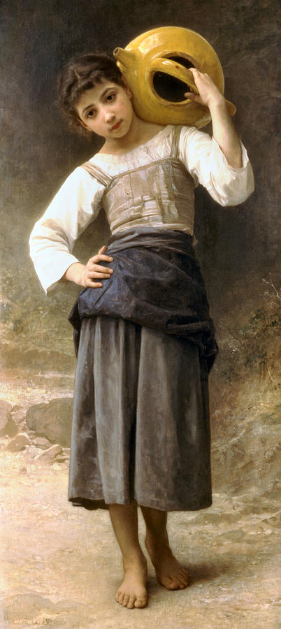 Young Girl Digital Art - Young Girl Going To The Fountain by William Bouguereau
