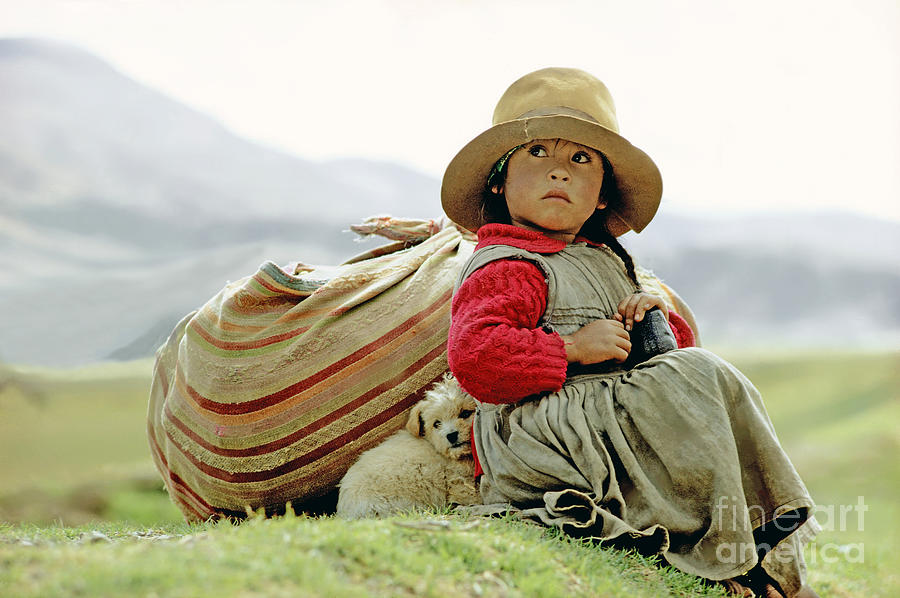 Girl Photograph - Young Girl In Peru by  Victor Englebert