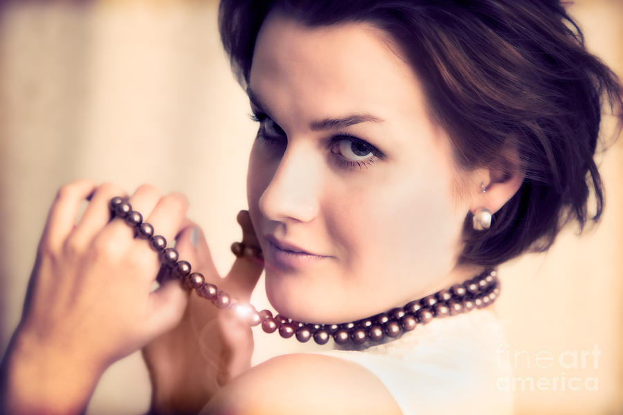 Necklace Photograph - Young Glamour Lady With Gold Necklace by Michal Bednarek