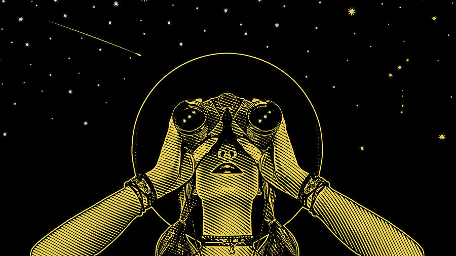 Young hipster woman with binoculars and stars Drawing by GeorgePeters