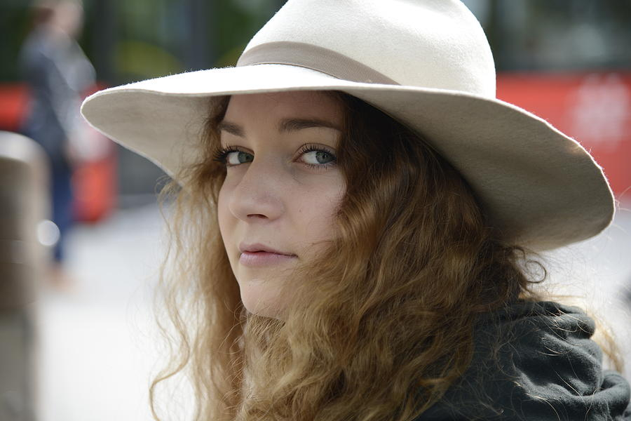 Fine Photograph - Young Lady With White Hat 1 by Teo SITCHET-KANDA