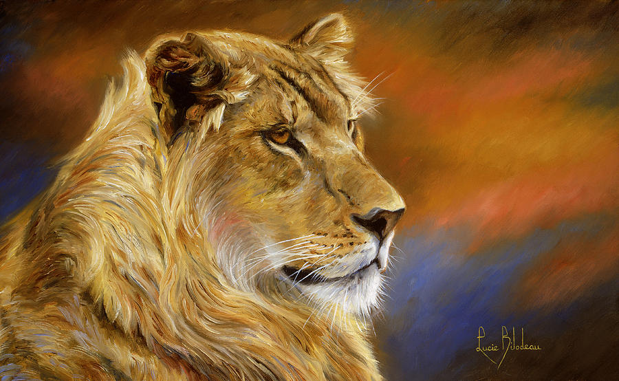 Young Lion Painting By Lucie Bilodeau