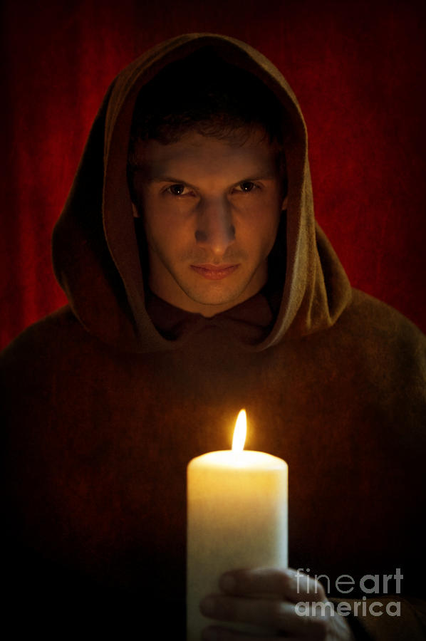 Young Medieval Monk Portrait By Candle Light Photograph By