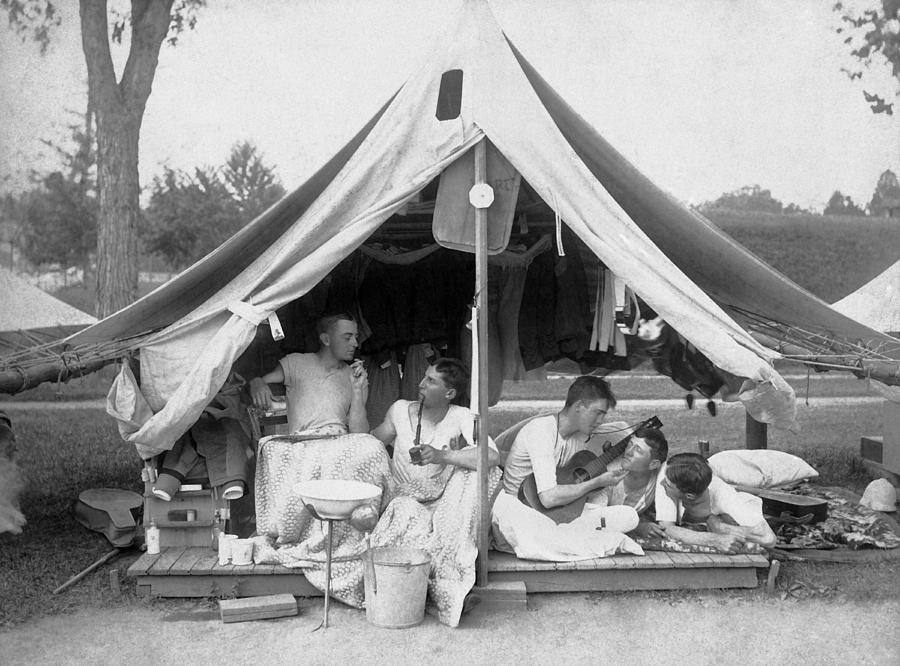 1895 Photograph - Young Men On A Camp Out by Pach Bros.