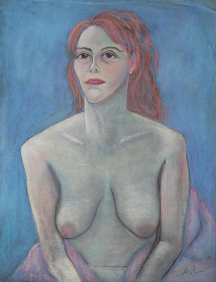 Female Nude Pastel - Young Mother by Asha Carolyn Young