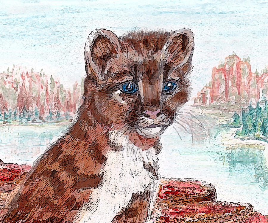 Mountain Painting - Young Mountain Lion by Michele Avanti