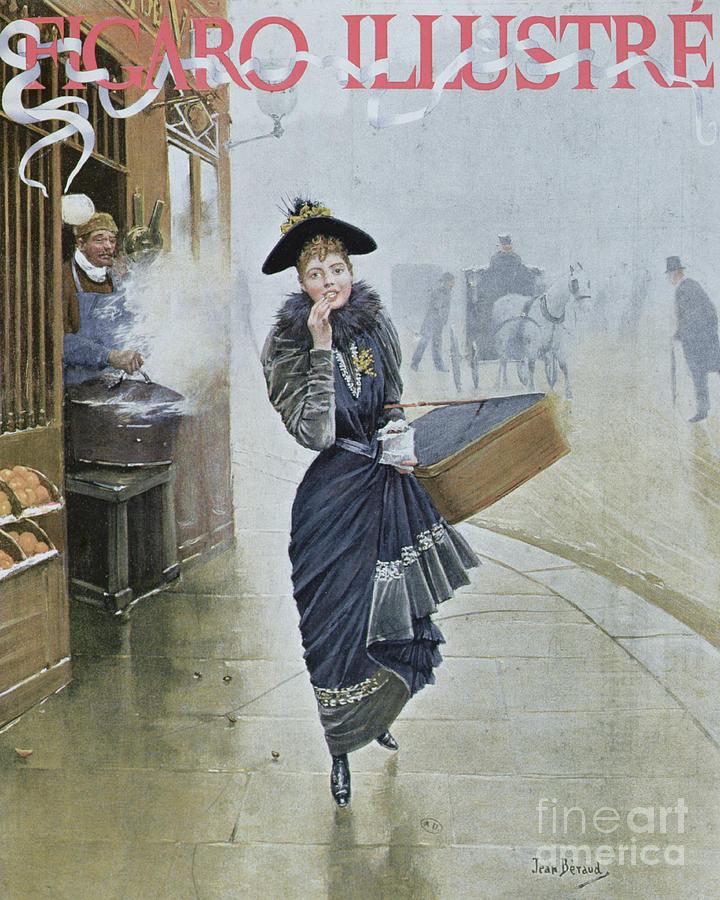 Street Scene Painting - Young Parisian Hatmaker by Jean Beraud
