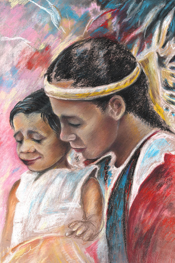 Travel Painting - Young Polynesian Mama With Child by Miki De Goodaboom