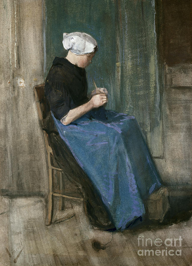 Post-impressionist Painting - Young Scheveningen Woman Knitting Facing Right by Vincent van Gogh