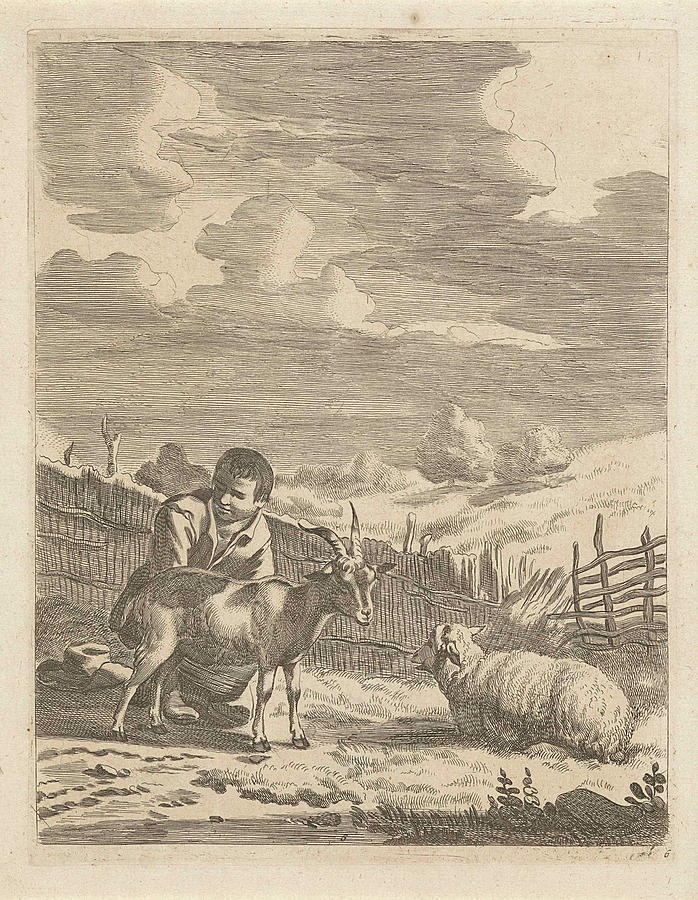 Young Shepherd With A Sheep And A Goat, Print Maker by Anonymous