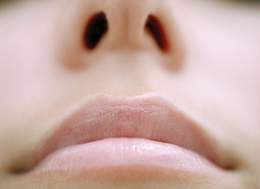Young woman, close-up of mouth and nose Photograph by Veronique Beranger