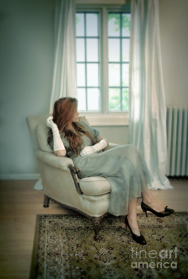 Woman Photograph - Young Woman In A Chair by Jill Battaglia