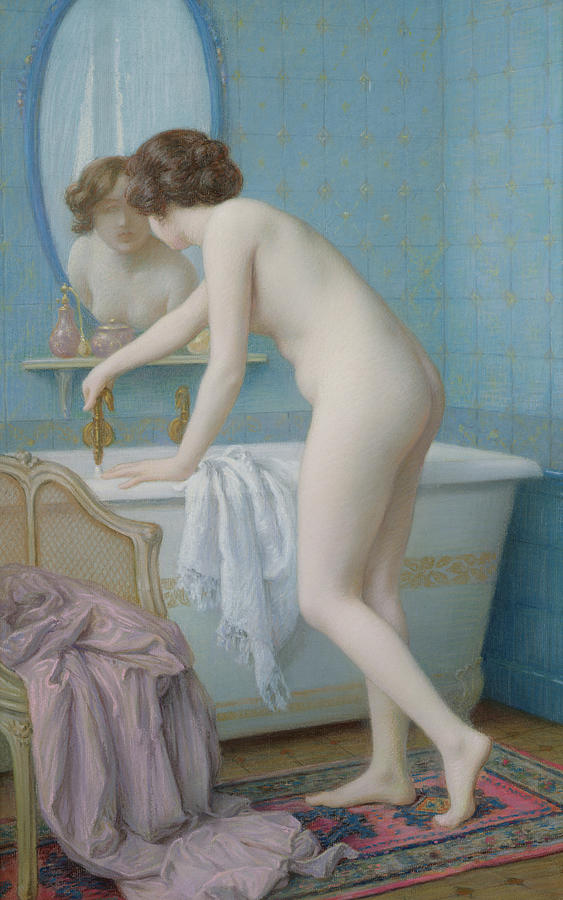 Young Woman Preparing Her Bath Painting By Jules Scalbert