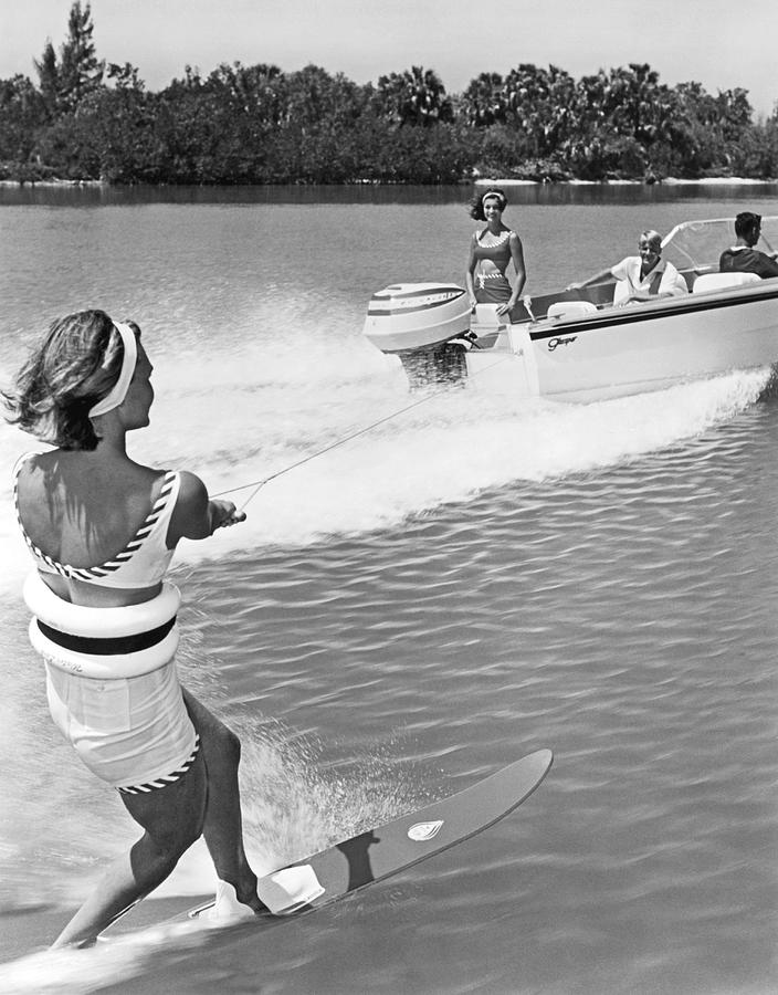 1960s Photograph - Young Woman Slalom Water Skis by Underwood Archives