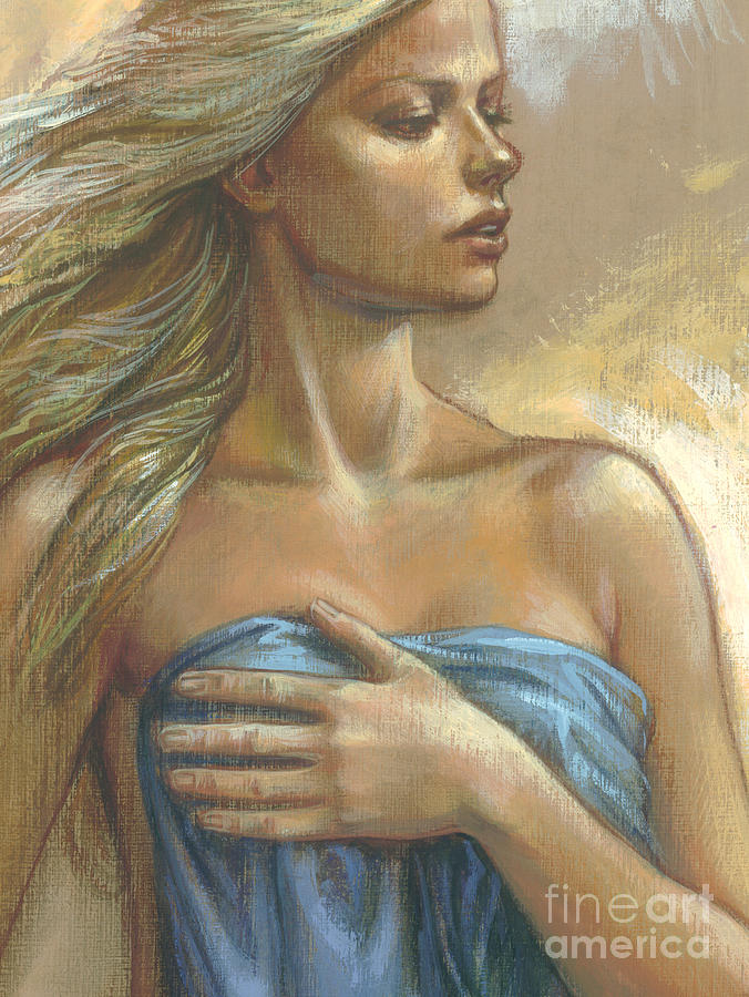 Blonde Digital Art - Young Woman With Blue Drape Crop by Zorina Baldescu