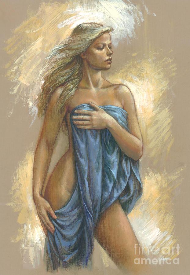 Blonde Digital Art - Young Woman With Blue Drape by Zorina Baldescu