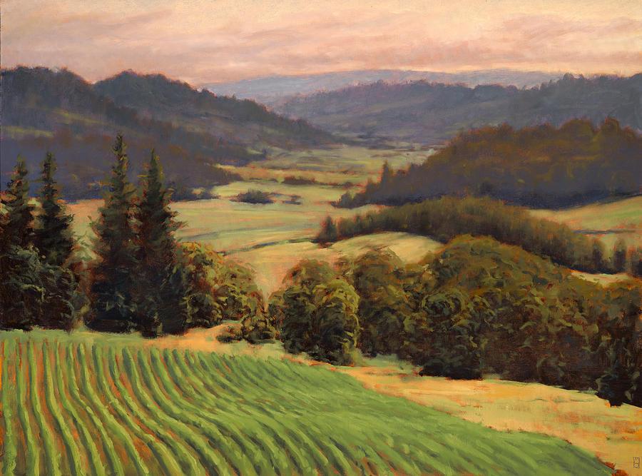 Vineyard Painting - Youngberg Hill Vineyard by Michael Orwick