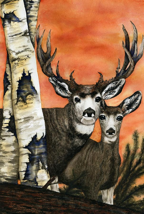 Deer Painting - Busted by Diane Ferron