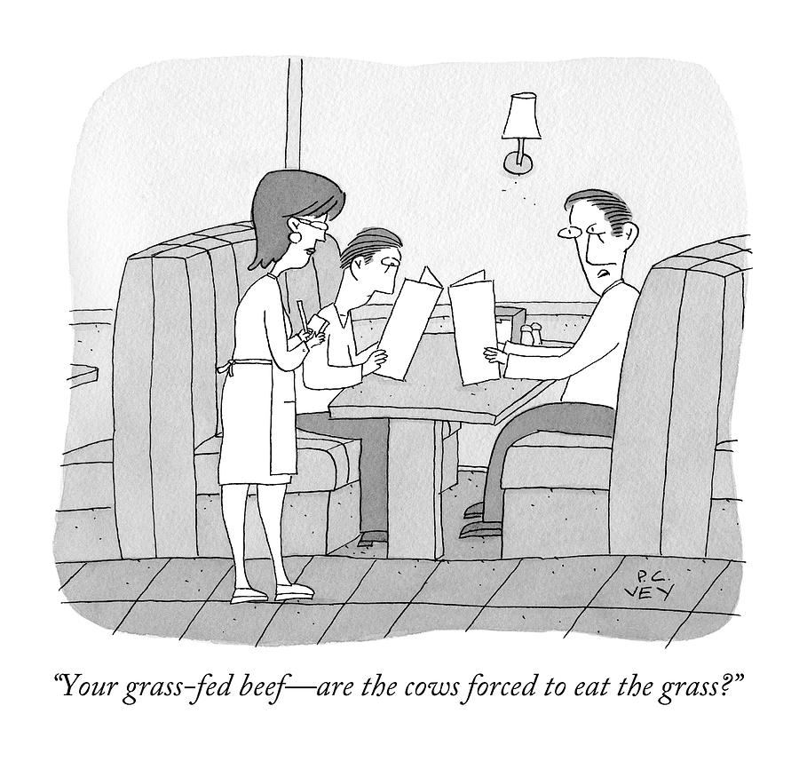 Cows Drawing - Your Grass-fed Beef - Are The Cows Forced To Eat by Peter C. Vey