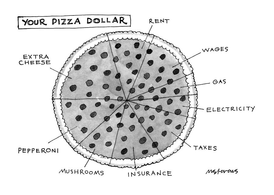 Your Pizza Dollar Drawing by Mick Stevens