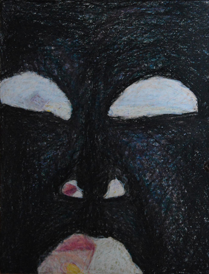 Face Eye Nose Mouth Black Inside Abstract Outsider Modern Folk Raw Surreal Eyes Portrait Crazy Madness Head Painting - Youre Standing In My Eye by Nancy Mauerman