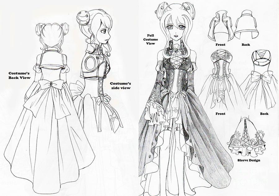 Yowane Haku Dress Design Drawing By Michelle Pak