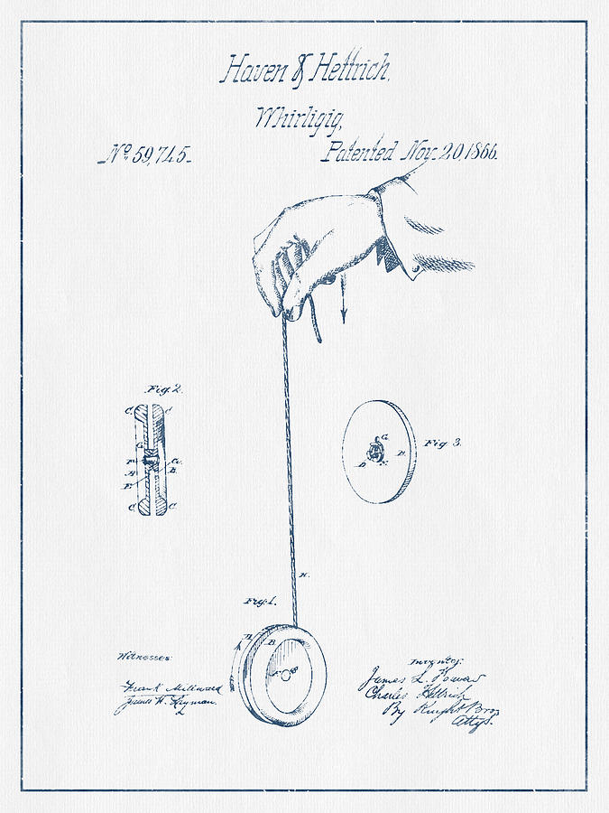 Yoyo Patent Drawing From 1866 - Blue Ink Digital Art