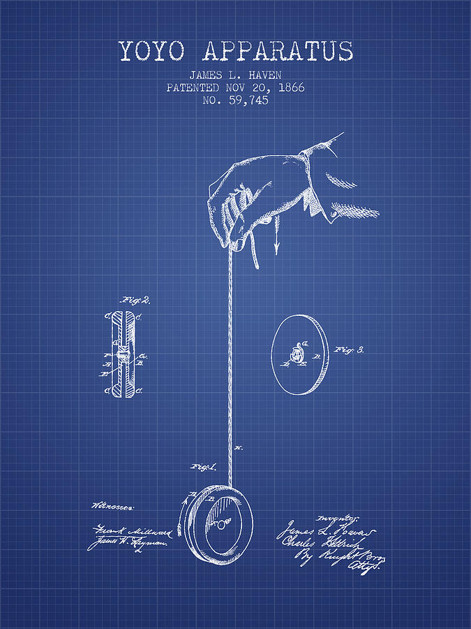 Yoyo patent from 1866 blueprint digital art by aged pixel yoyo digital art yoyo patent from 1866 blueprint by aged pixel malvernweather Image collections